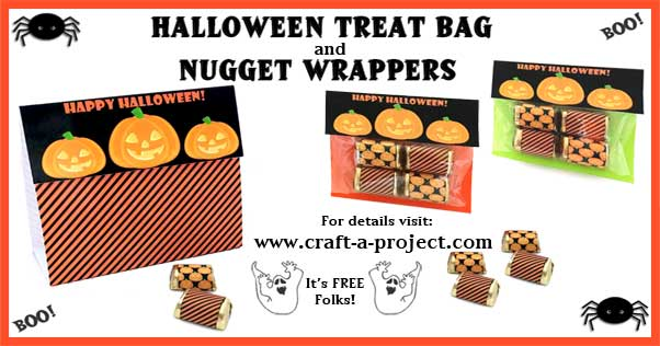 Halloween Crafts: Halloween Treat Bag and matching nugget wrappers