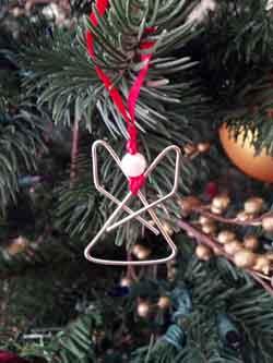 paper clip angel ornament
